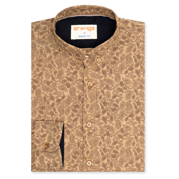 Paisley Design On Khaki Casual Full Sleeve Shirt