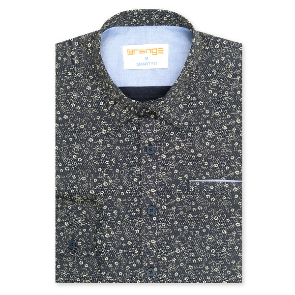 Foral Design On Navy Blue Casual Full Sleeve Shirt