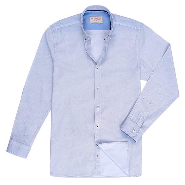 Blue Dotted On White Smart Fit Casual Full Sleeve Shirt