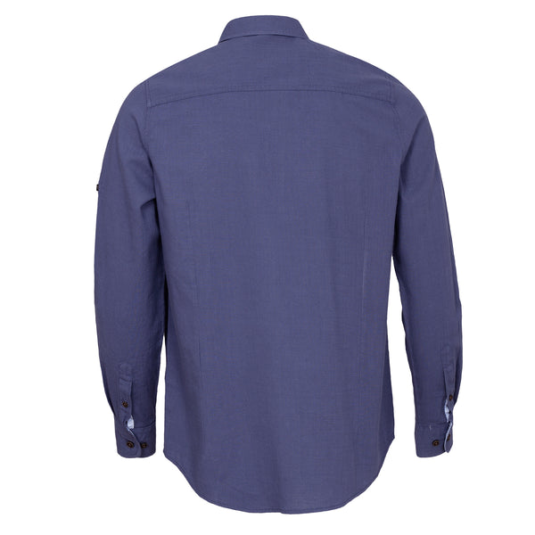 Navy Blue Plain Casual Full Sleeve Shirt