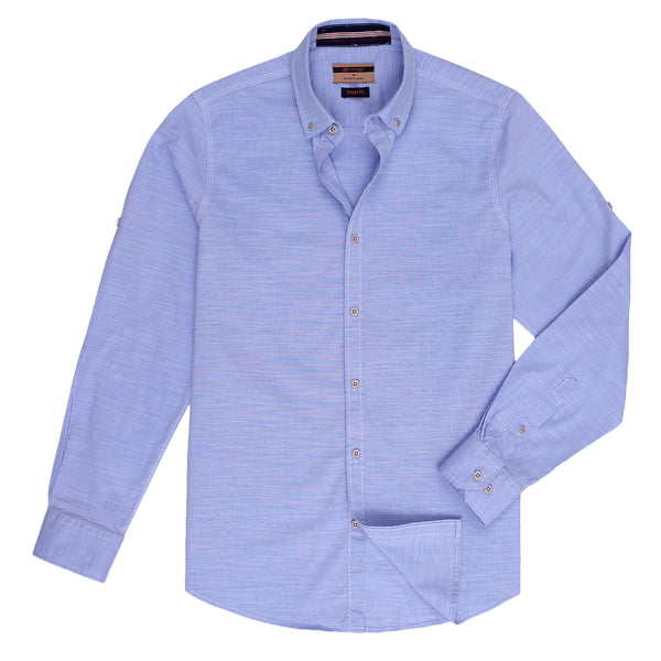 Sky Blue Smart Fit Casual Full Sleeve Shirt