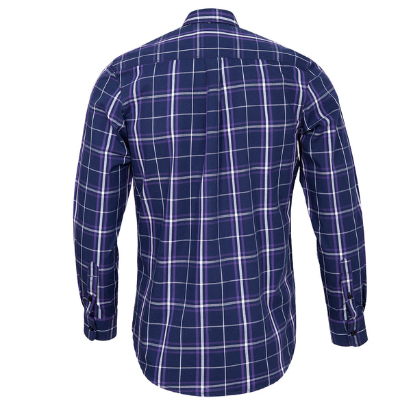 Multi Broad Check On Navy Blue Casual Full Sleeve Shirt