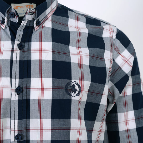 Navy Blue And White Check Full Sleeve Casual Smart Fit Shirt