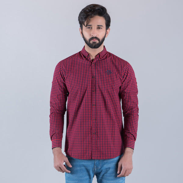 Red And Navy Blue Check Full Sleeve Casual Smart Fit Shirt