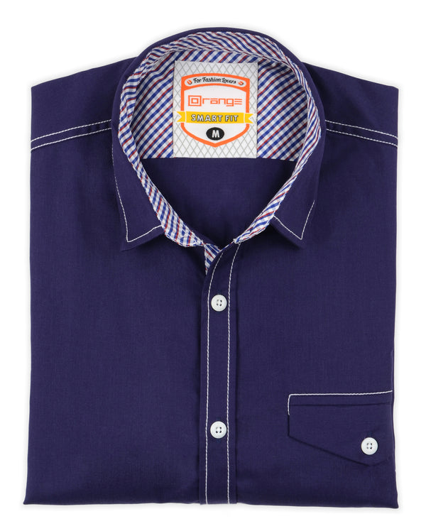 Purple Plain Casual Full Sleeve Shirt