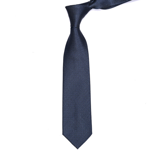Navy Blue And Black Pattern Regular Tie