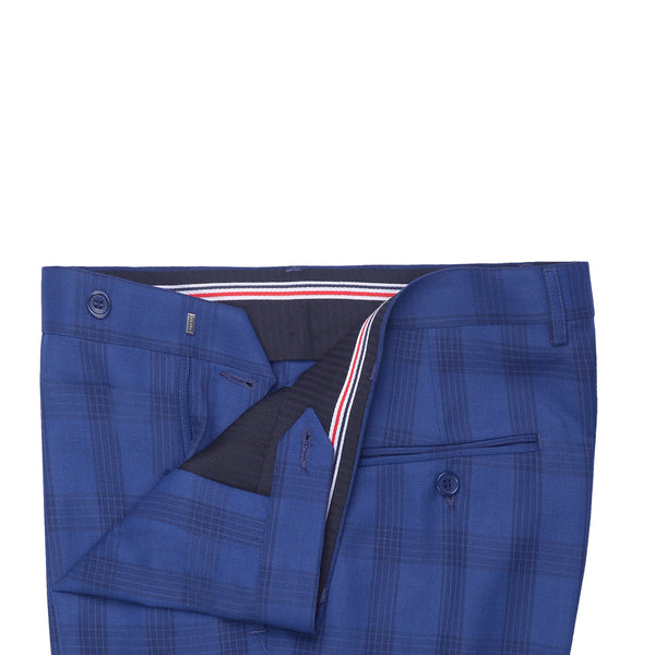 Blue Check Smart Fit Formal Trouser FT455