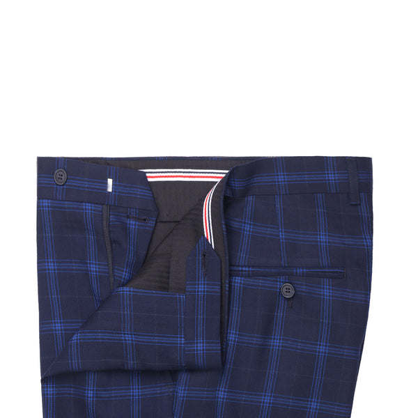 Navy Blue Check Smart Fit Formal Trouser FT454