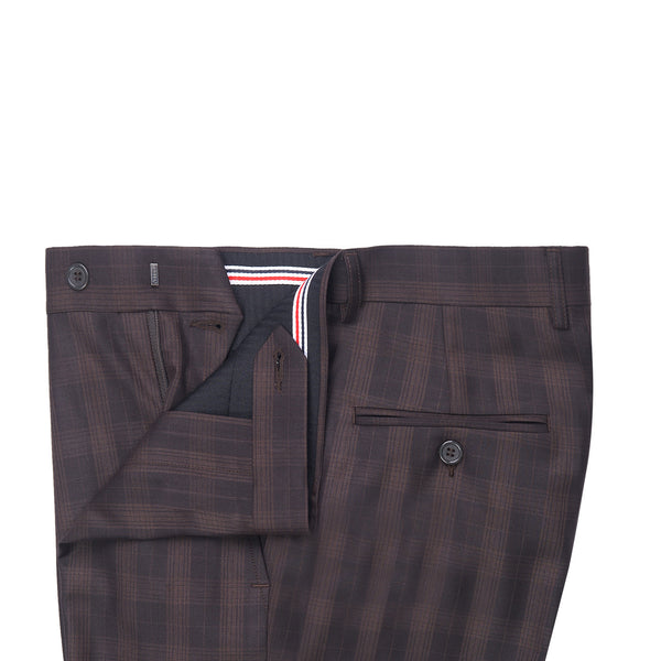 Brown Self Check Smart Fit Formal Trouser