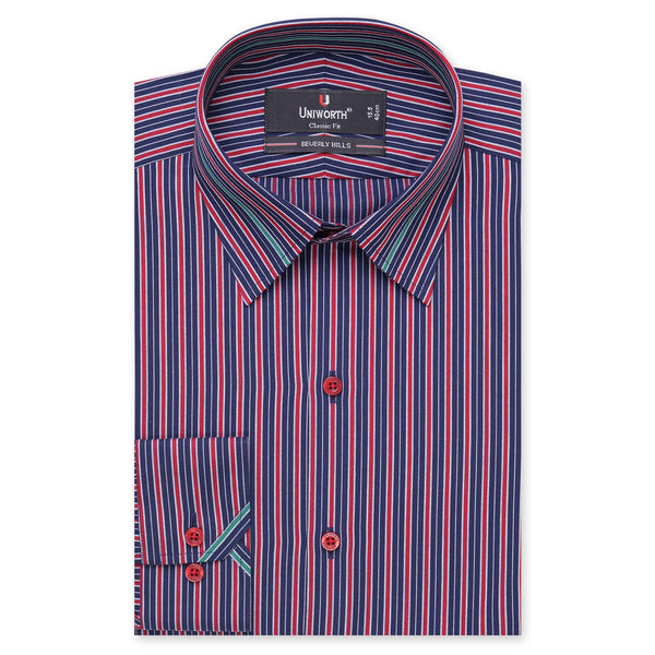 Beverly Hills Navy Blue And Red Striped Classic Fit Shirt