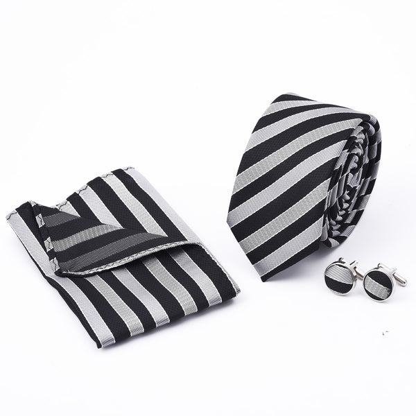 Black And Silver Stripe Slim Tie And Cufflink Set