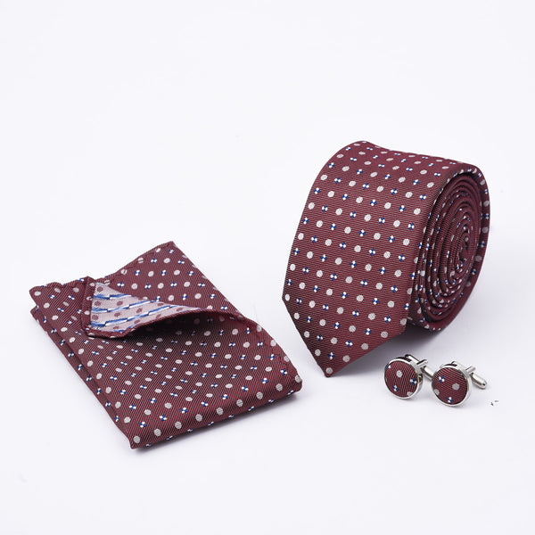 Multi Texture Brown Slim Tie And Cufflink Set