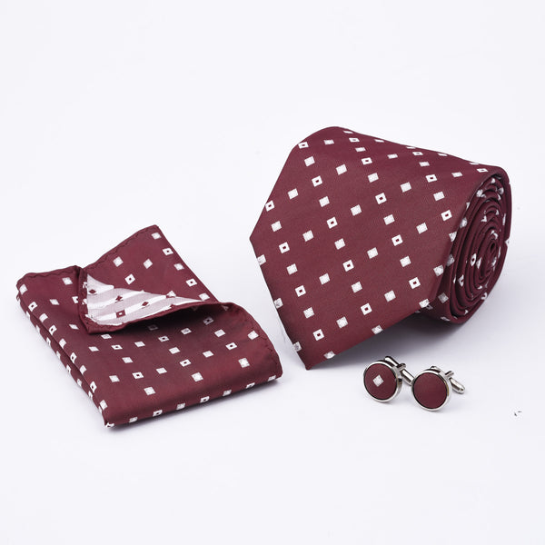White Square On Crimson Tie And Cufflink Set