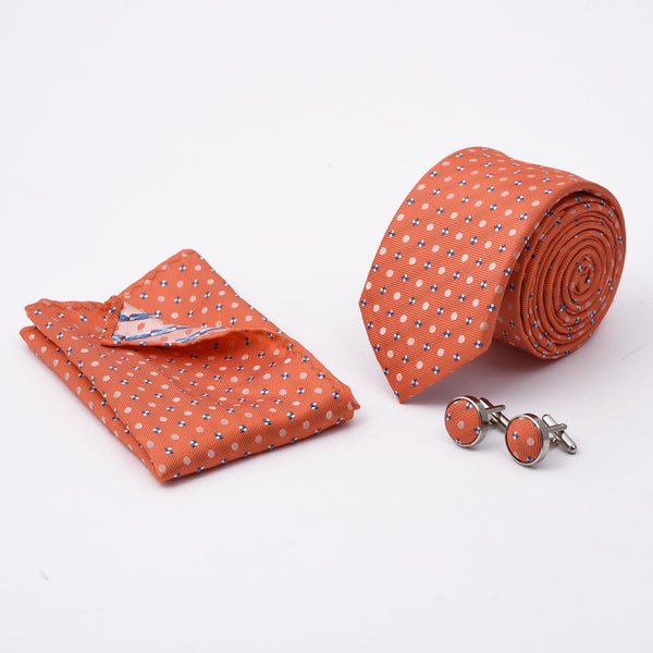 Multi Texture Peach Slim Tie And Cufflink Set