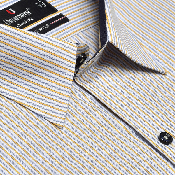 Beverly Hills Royal Blue And Yellow Striped Designer Classic Fit Shirt