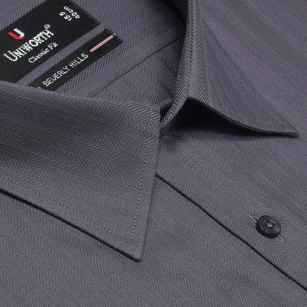 Beverly Hills Dark Grey Herring Bone Striped Classic Fit Dress Shirt FS2407