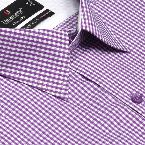 Beverly Hills Designer White And Purple Check Classic Fit Shirt