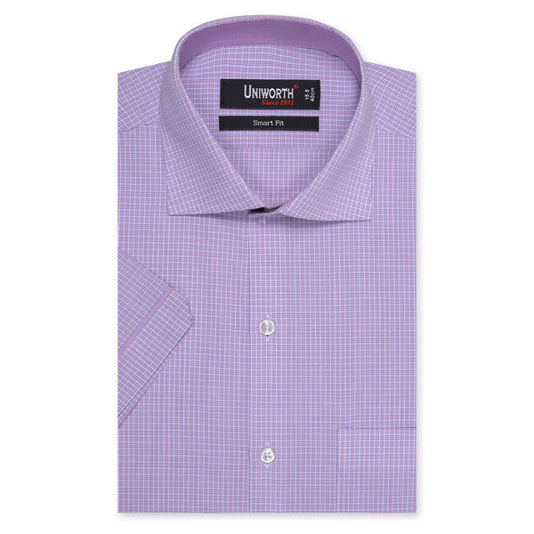 Mauve And White Check Half Sleeve Smart Fit Dress Shirt