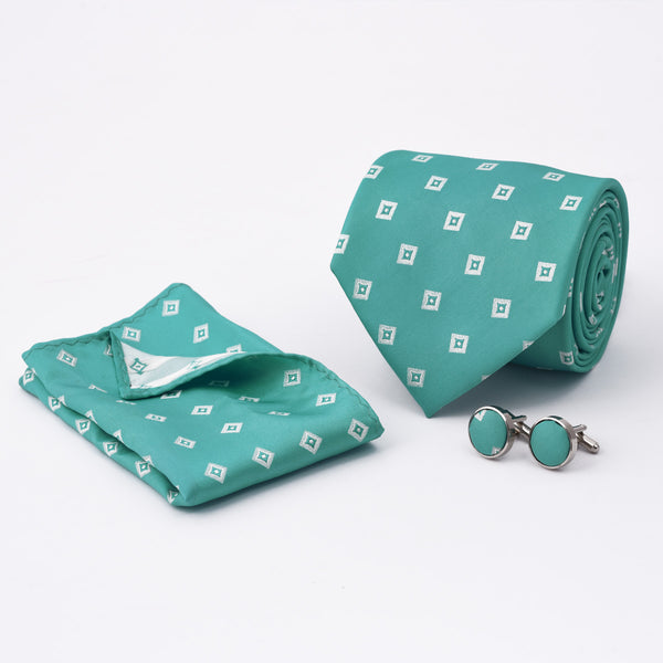 White Square Ferozi Regular Tie And Cufflink Set