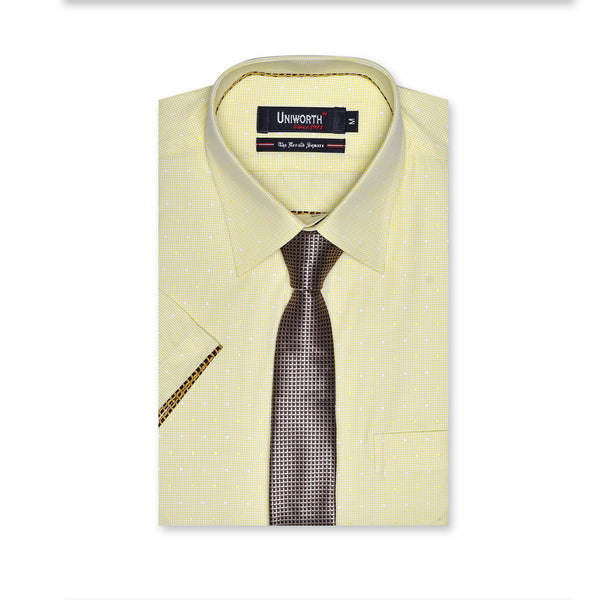 The Herald Square White And Yellow Check Half Sleeve Smart Fit Dress Shirt
