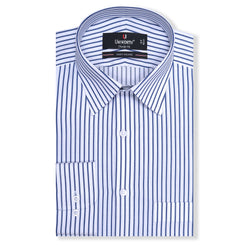 Times Square White And Blue Striped Classic Fit Dress Shirt