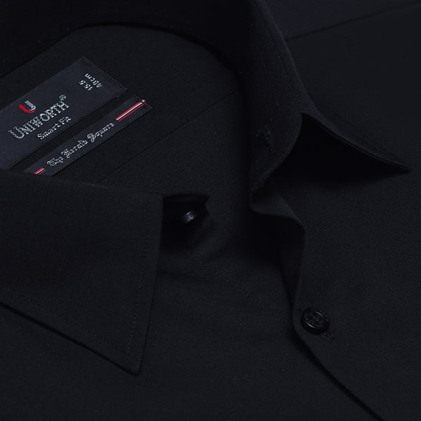 The Herald Square Black Plain Smart Fit Men Dress Shirt