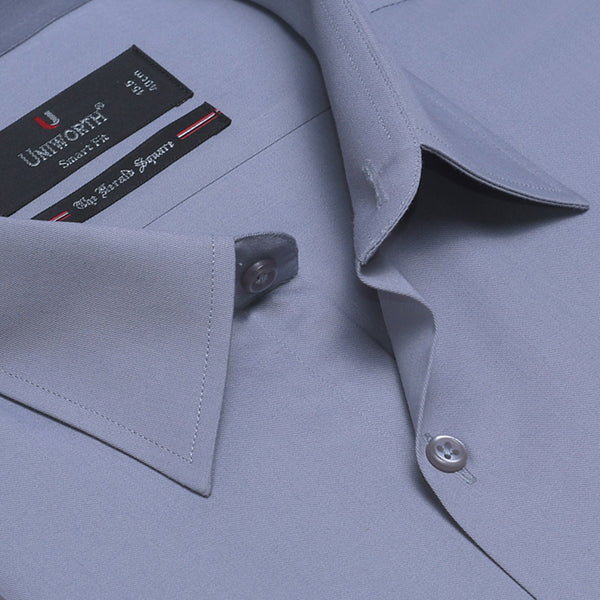 The Herald Square Grey Plain Smart Fit Men Dress Shirt