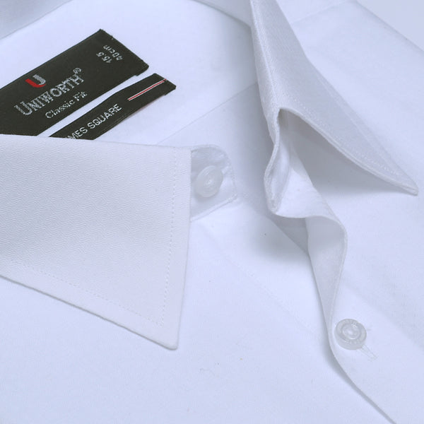 Times Square White Self Texture Classic Fit Dress Shirt