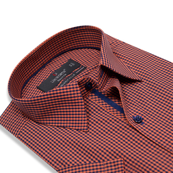 Beverly Hills Navy Blue And Orange Check Half Sleeve Smart Fit Dress Shirt