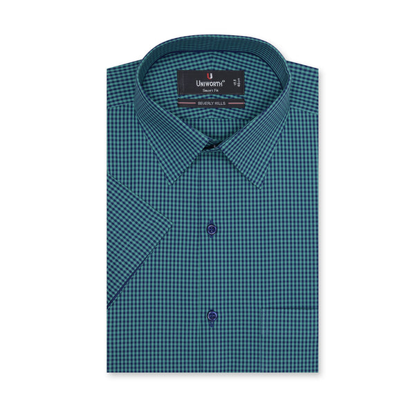 Beverly Hills  Navy Blue And Green Check Half Sleeve Classic Fit Dress Shirt