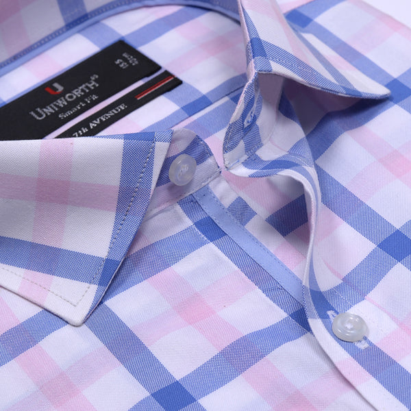 7th Avenue Multi Check Half Sleeve Smart Fit Dress Shirt