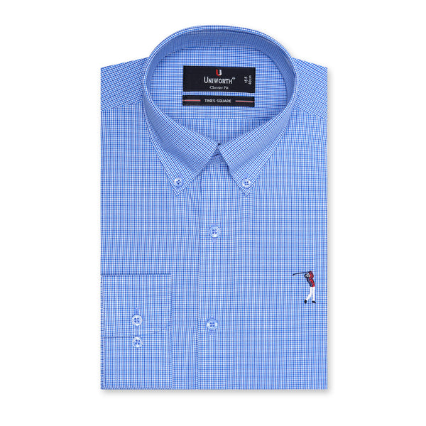 Times Square Blue And White Check Classic Fit Button Down Shirt