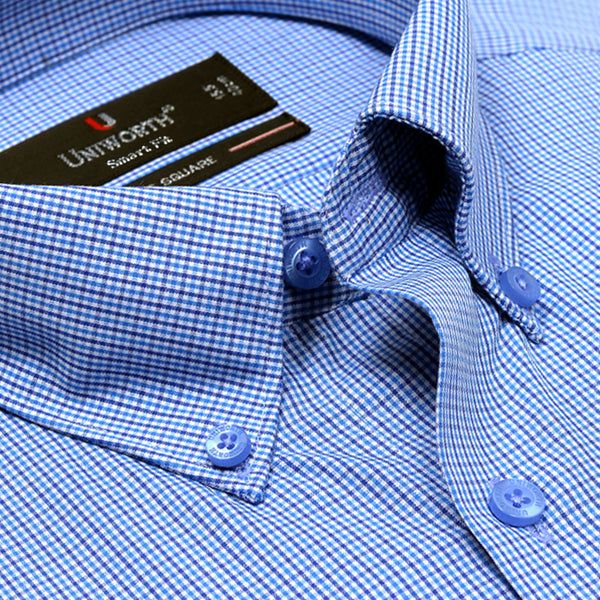 Times Square Blue And White Check Smart Fit Button Down Dress Shirt