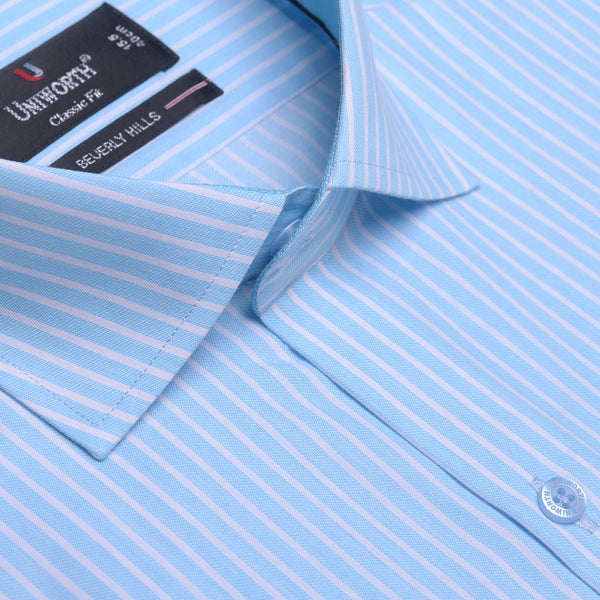 Beverly Hills White And Aqua Striped Designer Classic Fit Shirt FS2520
