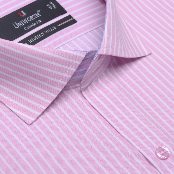 Beverly Hills White And Pink Striped Designer Classic Fit Shirt