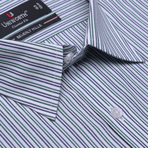 Beverly Hills White And Green Striped Classic Fit Dress Shirt FS2527