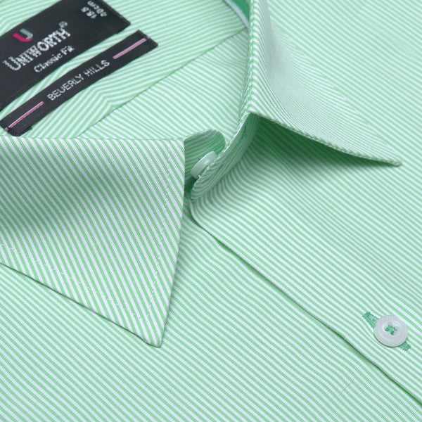 Beverly Hills White And Green Striped Classic Fit Dress Shirt