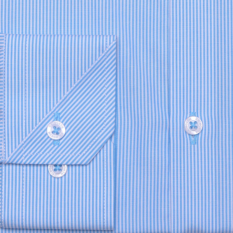 Beverly Hills White And Aqua Striped Classic Fit Dress Shirt