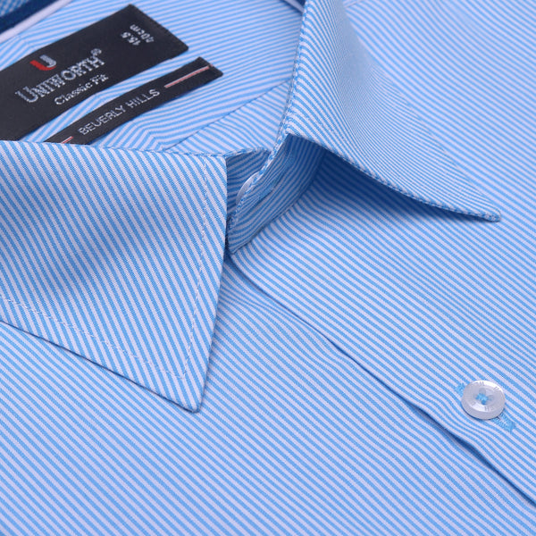 Beverly Hills White And Aqua Striped Classic Fit Dress Shirt FS2550-1