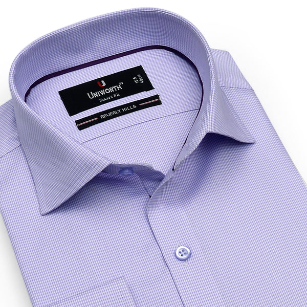 Beverly Hills Mauve And White Check Smart Fit Dress Shirt