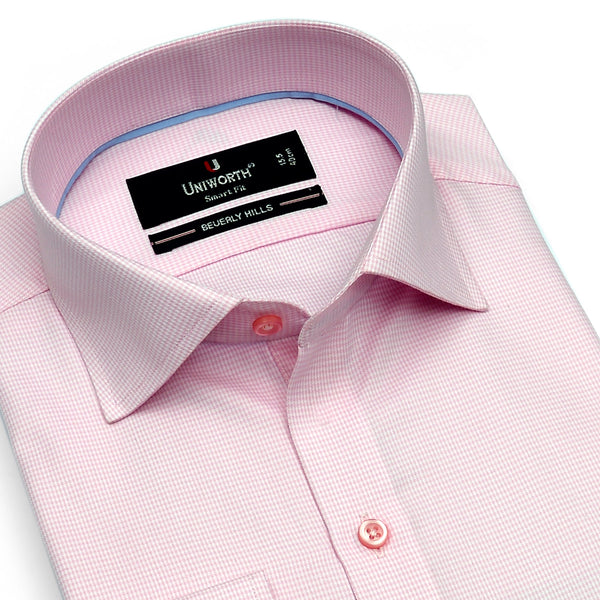 Beverly Hills Pink And White Check Smart Fit Dress Shirt