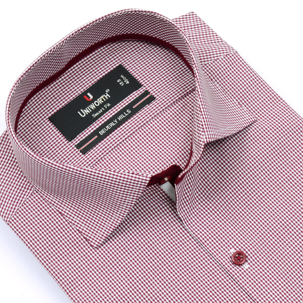 Beverly Hills Crimson And White Check Smart Fit Dress Shirt