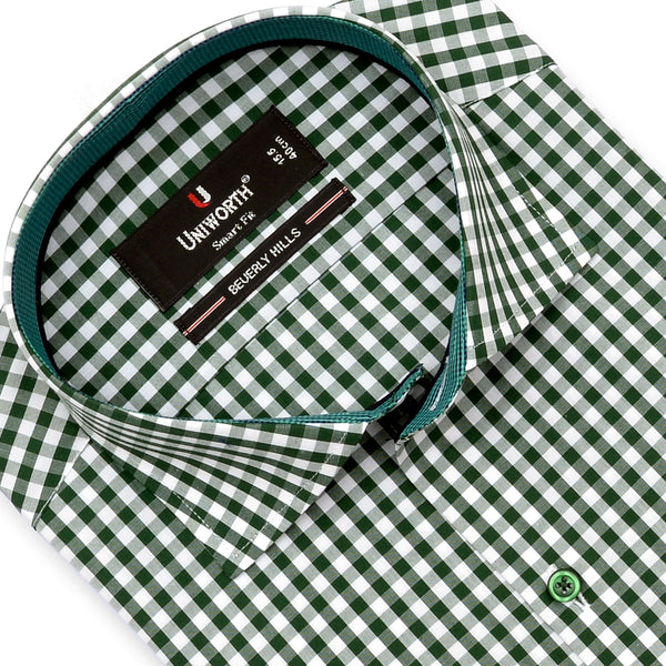 Beverly Hill Green And White Check Smart Fit Dress Shirt