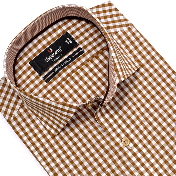 Beverly Hill Brown And White Check Smart Fit Dress Shirt