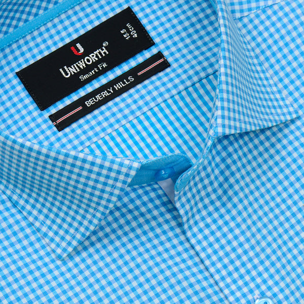 Beverly Hills Aqua Blue And White Check Smart Fit Dress Shirt