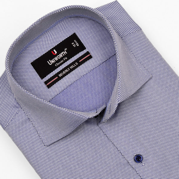 Beverly Hills Royal Blue Pin Dotted Designer Shirt