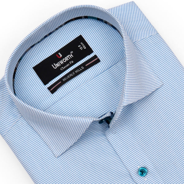 Beverly Hills White And Blue Pin Dotted Designer Shirt