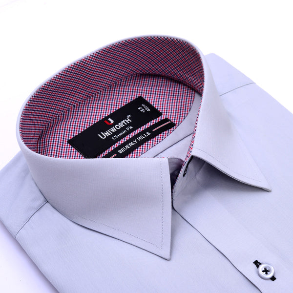 Beverly Hills Grey Plain Classic Fit Men's Designer Shirt