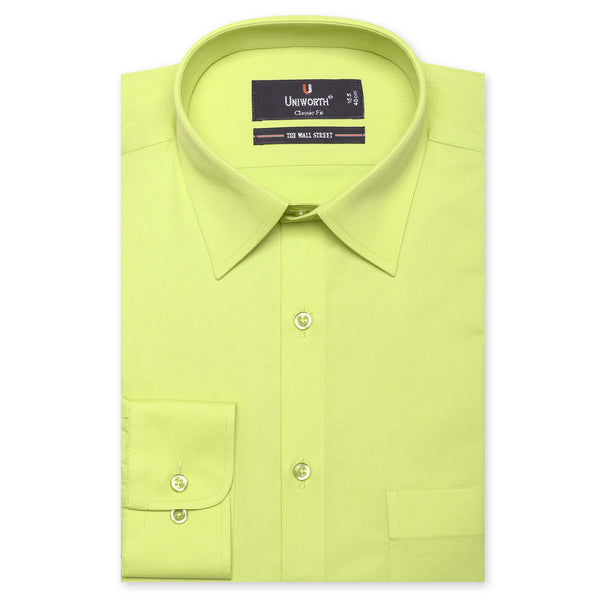 The Wall Street Lime Green Plain Classic Fit Dress Shirt
