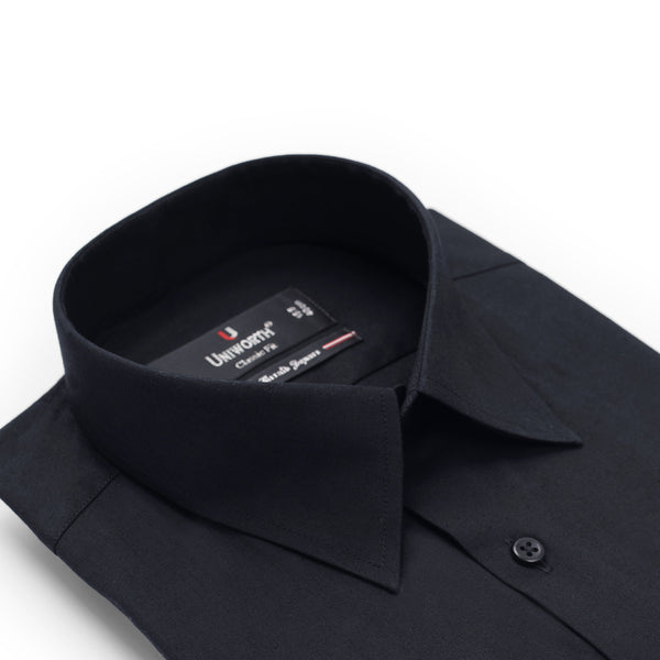 Black Plain Half Sleeve Classic Fit Dress Shirt